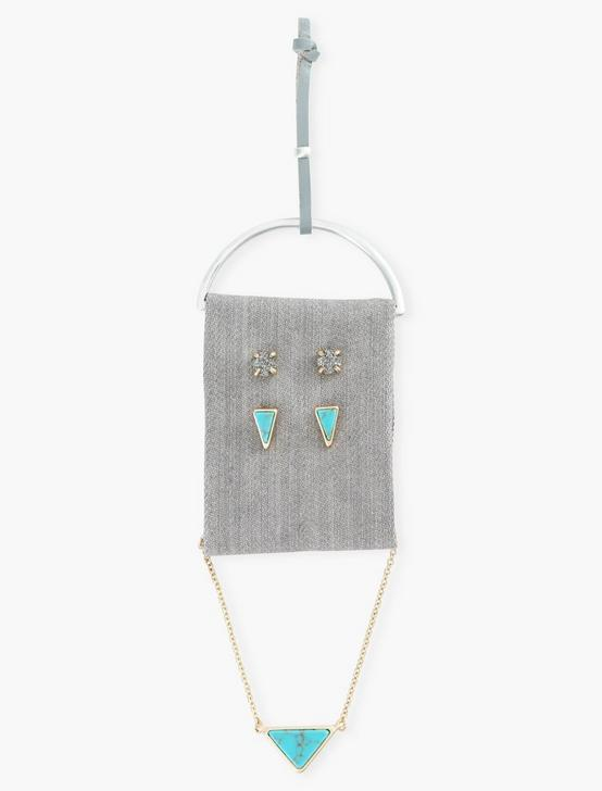 TRIANGLE TURQ NECKLACE AND STUD SET, TWO TONE, productTileDesktop
