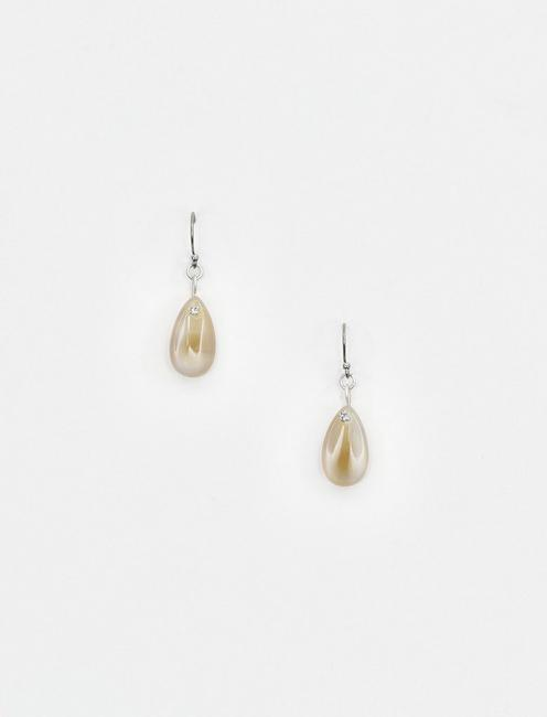 BROWN LACE AGATE DROPS, SILVER