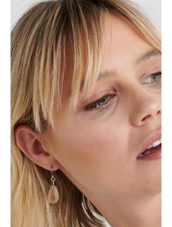 BROWN LACE AGATE DROP EARRINGS, SILVER, productTileDesktop