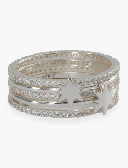 SILVER STAR PAVE STACKED RING,