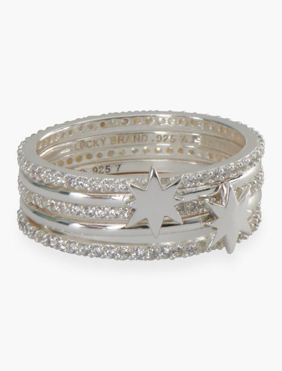 STERLING SILVER STAR PAVE STACKED RING