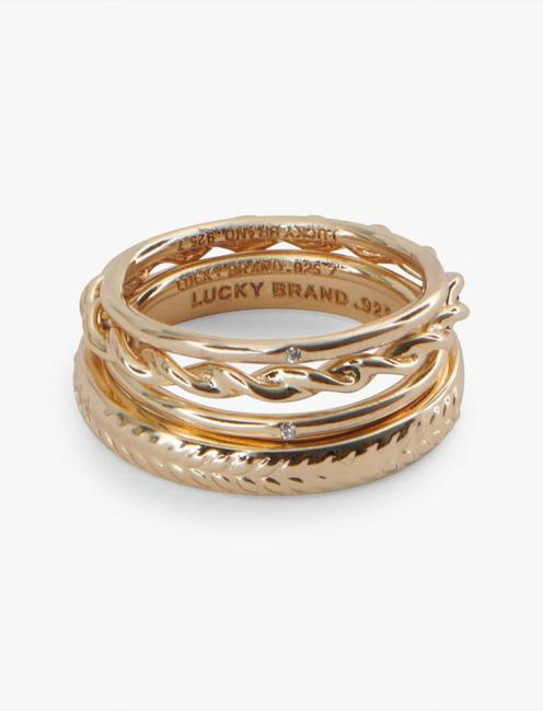 STERLING SILVER PAVE RING SET, GOLD