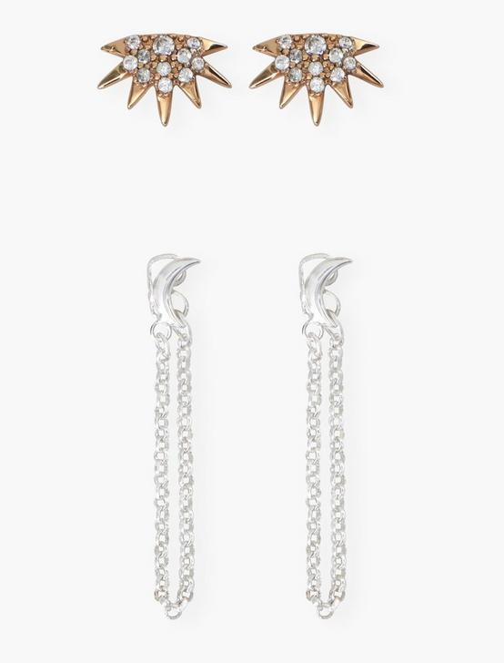 SUN AND MOON STUD SET, TWO TONE, productTileDesktop