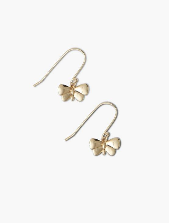 STERLING SILVER BUTTERFLY DROP EARRINGS, GOLD, productTileDesktop