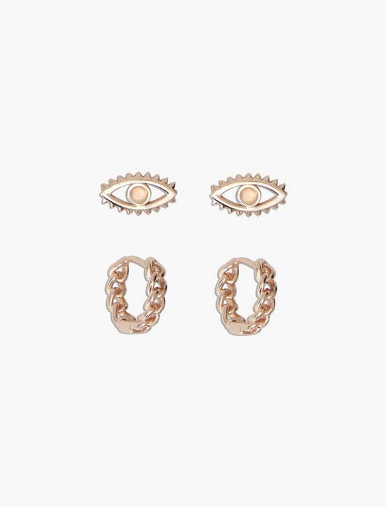 STERLING SILVER EVIL EYE STUD AND HOOP SET, ROSE GOLD, productTileDesktop
