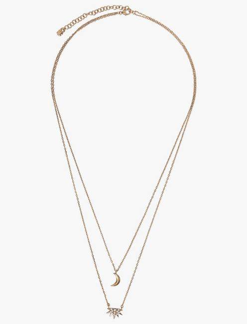 SUN AND MOON LAYER NECKLACE, GOLD