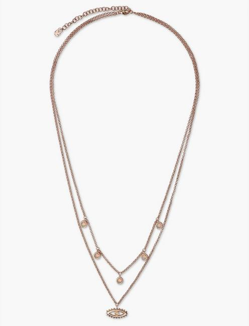 STERLING SILVER EVIL EYE LAYERED NECKLACE, ROSE GOLD