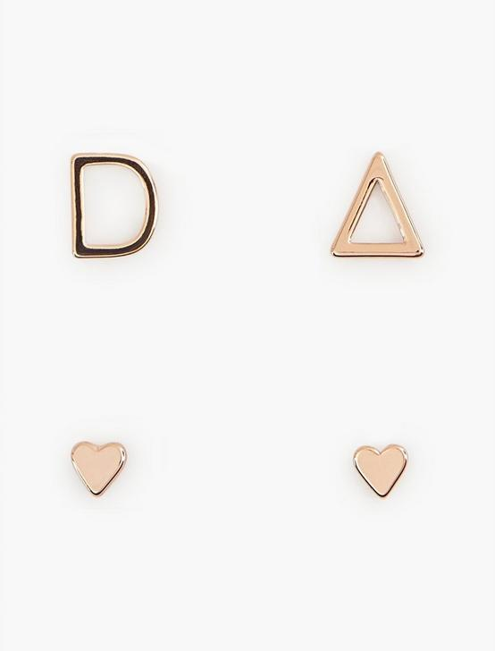 ROSE GOLD D EARRING SET, BRIGHT PINK, productTileDesktop
