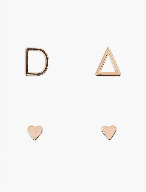 ROSE GOLD D EARRING SET, BRIGHT PINK