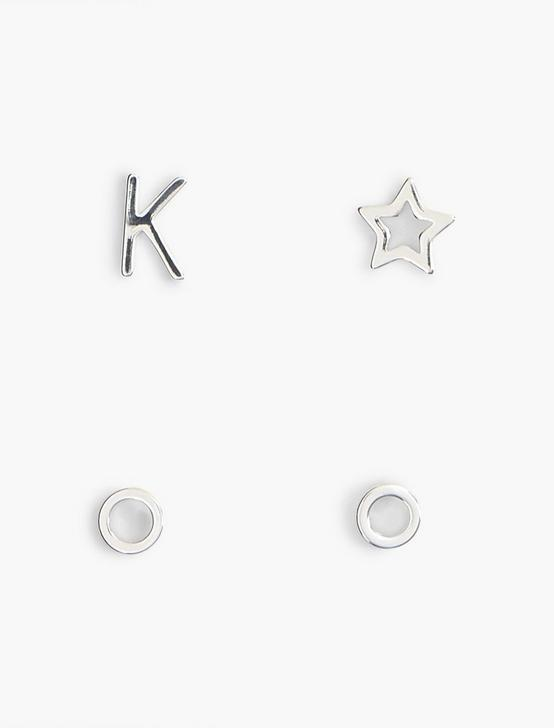 SILVER K EARRING SET, SILVER, productTileDesktop