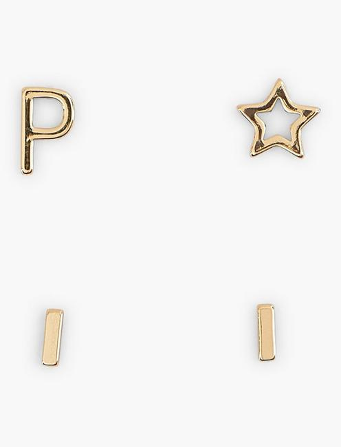 GOLD P EARRING SET, GOLD