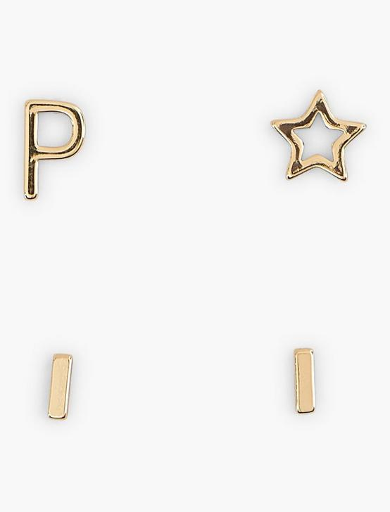 GOLD P EARRING SET, GOLD, productTileDesktop