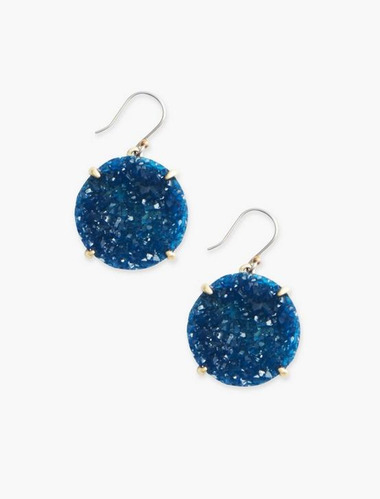 BLUE DRUZY EARRINGS, SILVER, productTileDesktop