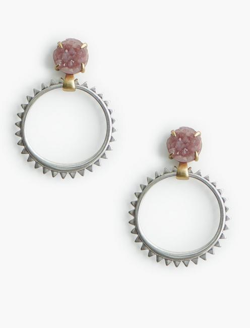 PINK DRUZY DANGLE HOOPS,