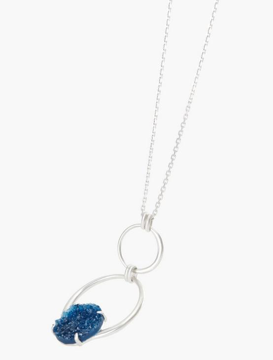 BLUE DRUZY CIRCLE PENDANT, SILVER, productTileDesktop