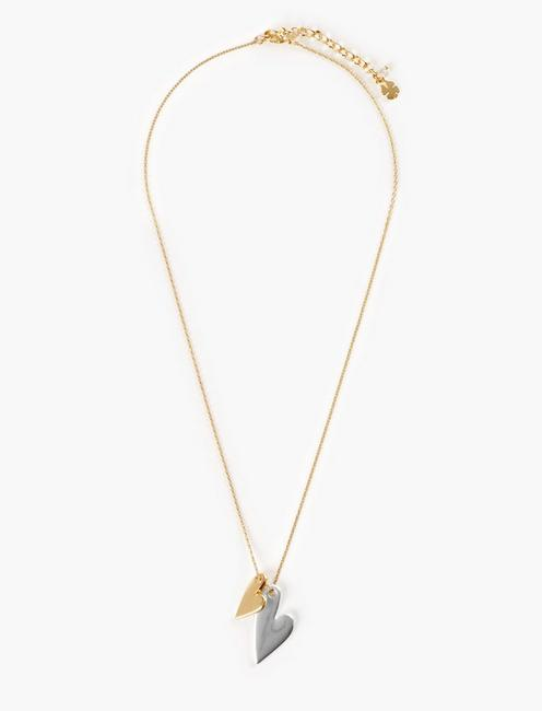 TTONE HEART CHARM NECKLACE, TWO TONE