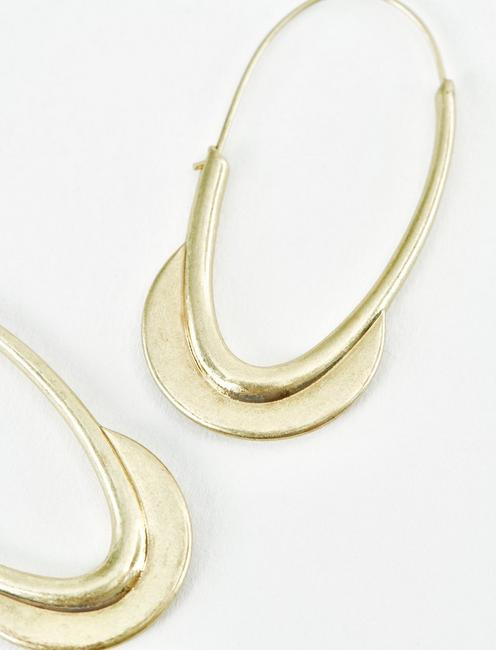 GOLD CRESCENT HOOPS, GOLD