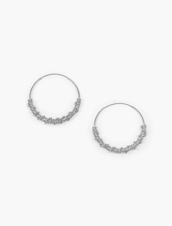 WRAPPED HOOP EARRINGS, SILVER, productTileDesktop