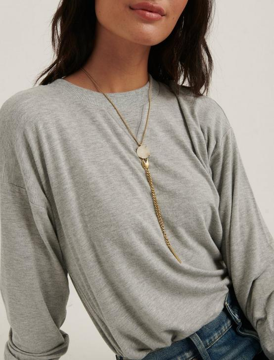 DRUZY FRINGE Y NECKLACE, GOLD, productTileDesktop