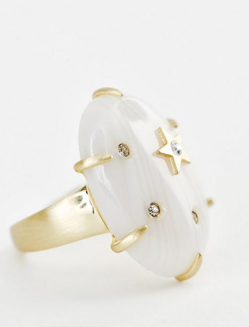 STAR AND PAVE RING, GOLD
