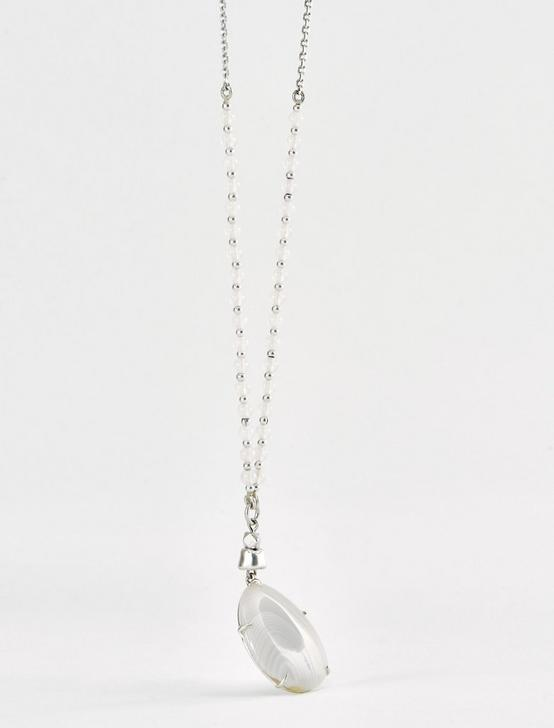 CHAIN AND SET STONE NECK, SILVER, productTileDesktop