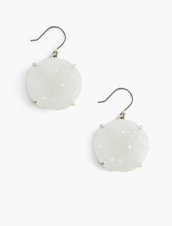 WHITE DRUZY EARRINGS, SILVER, productTileDesktop