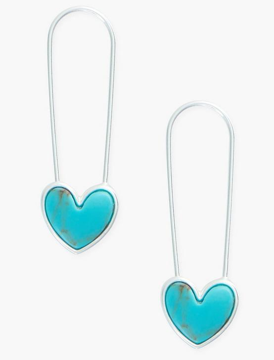 TURQ HEART SAFETY PIN EARRINGS, SILVER, productTileDesktop