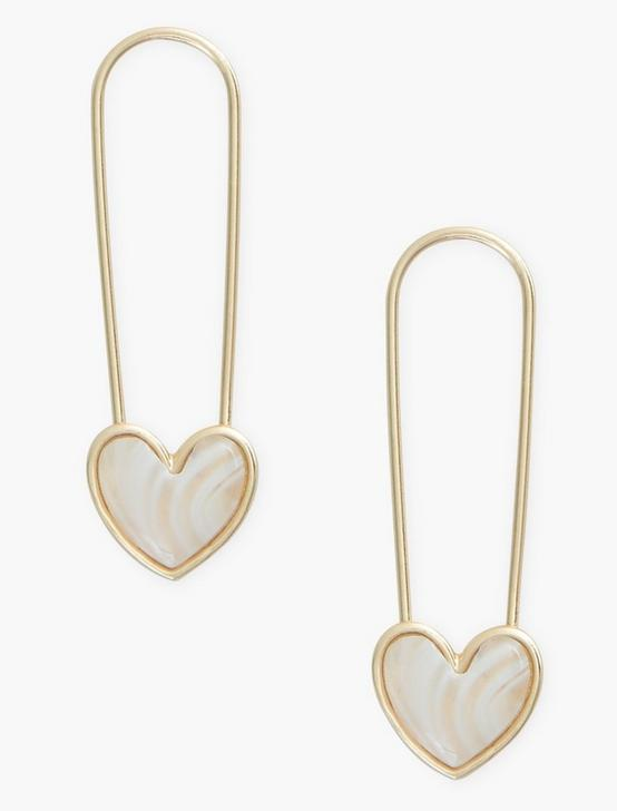 WHITE AGATE SAFETY PIN HEART EARRINGS, GOLD, productTileDesktop