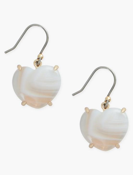 WHITE AGATE HEART DROPS, GOLD, productTileDesktop