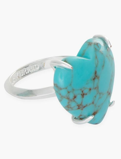 TURQUOISE HEART RING, SILVER