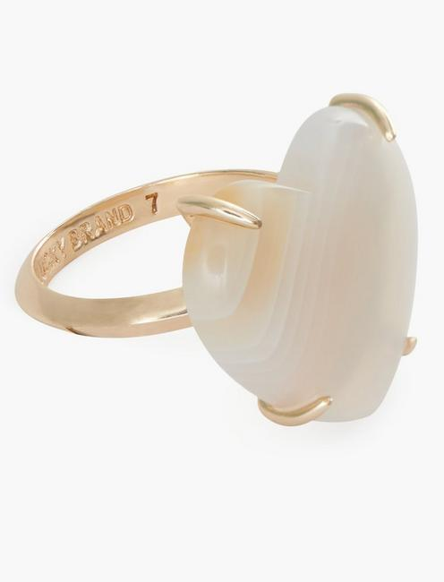 WHITE AGATE HEART RING, GOLD