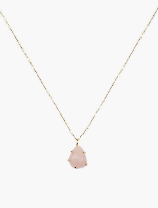 Rose Quartz Pendant Necklace, GOLD, productTileDesktop