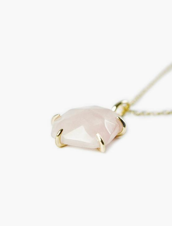 Rose Quartz Pendant Necklace, GOLD, productTileDesktop