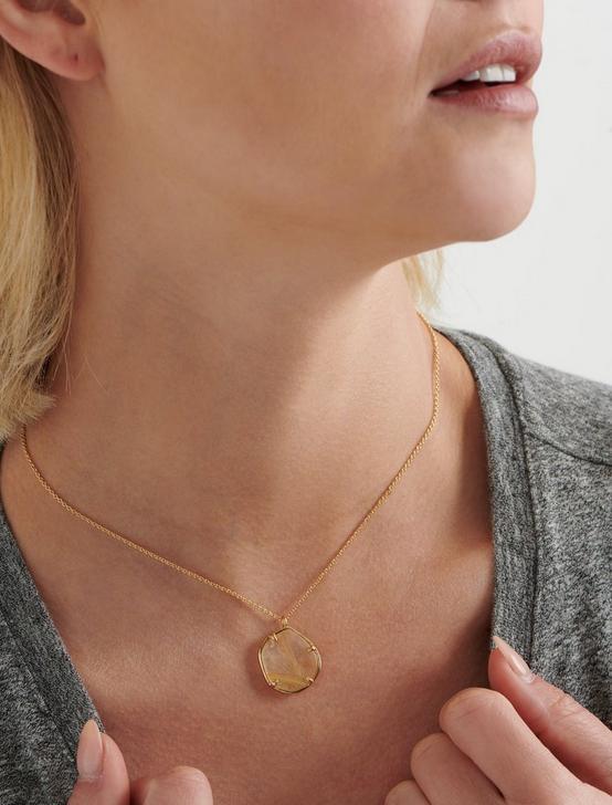 Gold Rutilated Quartz Pendant Necklace, GOLD, productTileDesktop