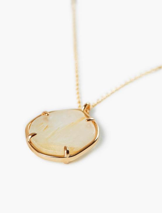 Gold Rutilated Quartz Pendant Neckalce, GOLD, productTileDesktop