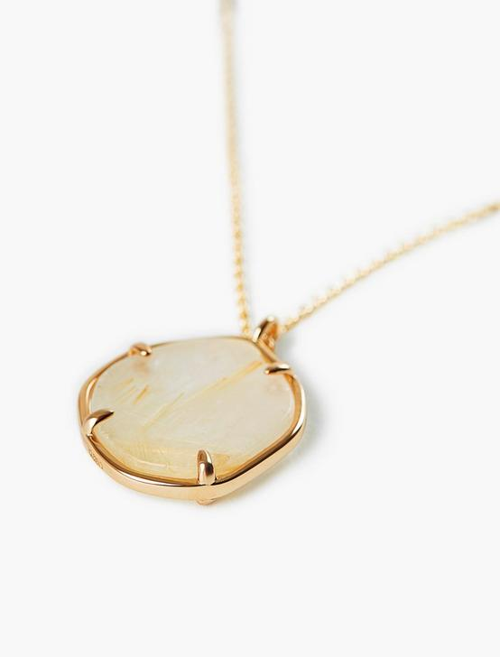 Gold Rutilated Quartz Pendant Necklace, GOLD, productTileDesktop