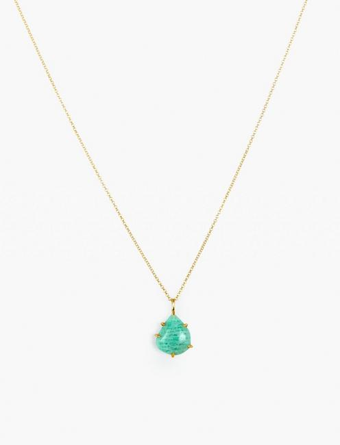 Amazonite Pendant Necklace, GOLD