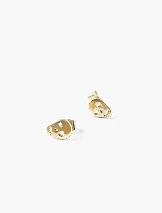 SKULL STUD EARRINGS, GOLD, productTileDesktop