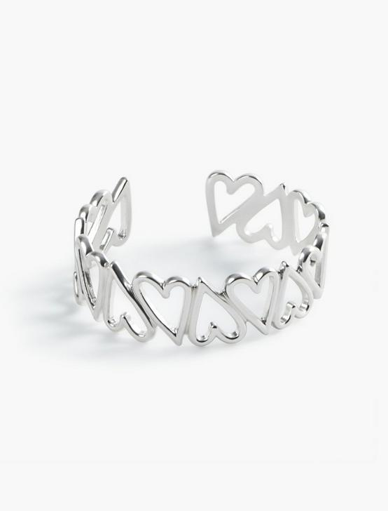OPEN HEART CUFF, SILVER, productTileDesktop