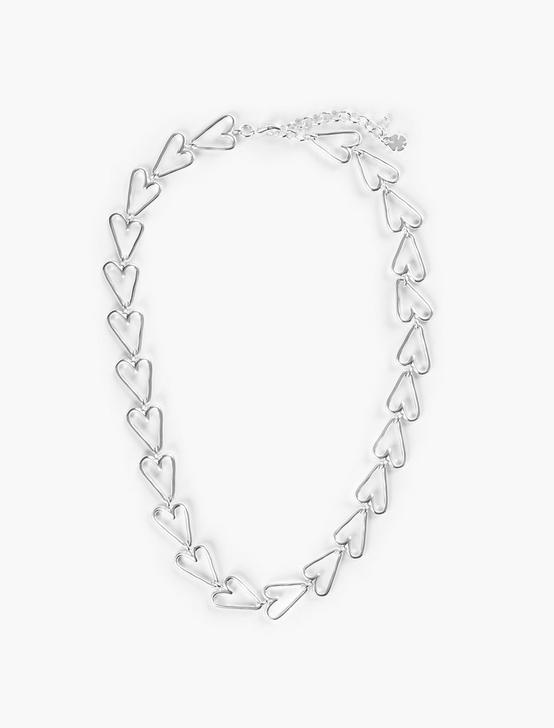 HEART CHAIN NECKLACE, SILVER, productTileDesktop