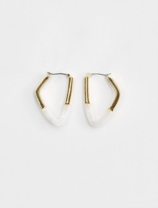 GEOMETRIC HOOP EARRINGS, GOLD, productTileDesktop