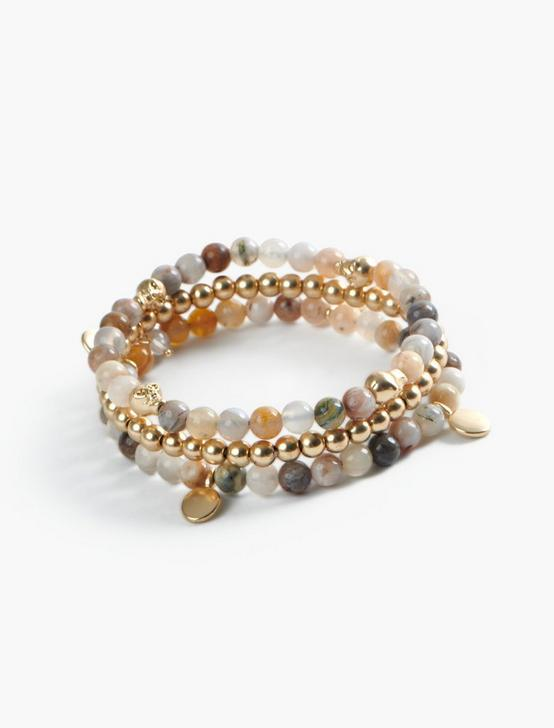 SKULL MULTI  BEADED BRACELET SET, GOLD, productTileDesktop