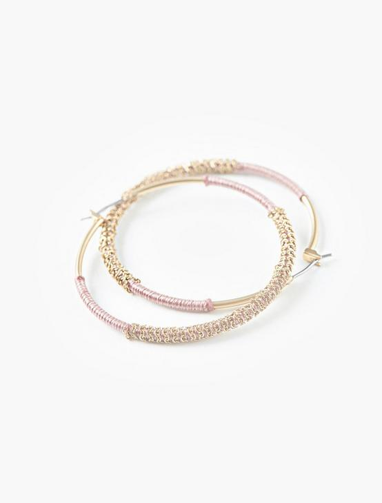 WOVEN HOOP EARRINGS, GOLD, productTileDesktop