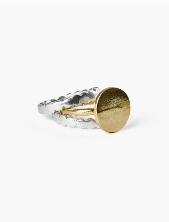 SCALLOP METAL RING SET, TWO TONE, productTileDesktop