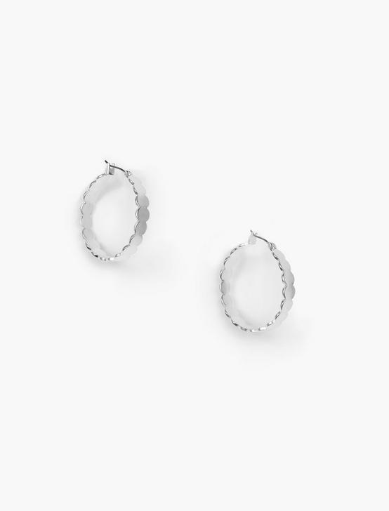 SCALLOPED HOOP EARRINGS, SILVER, productTileDesktop