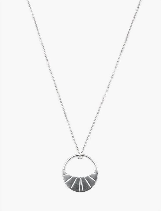 ETCHED HOOP PENDANT NECKLACE, SILVER, productTileDesktop