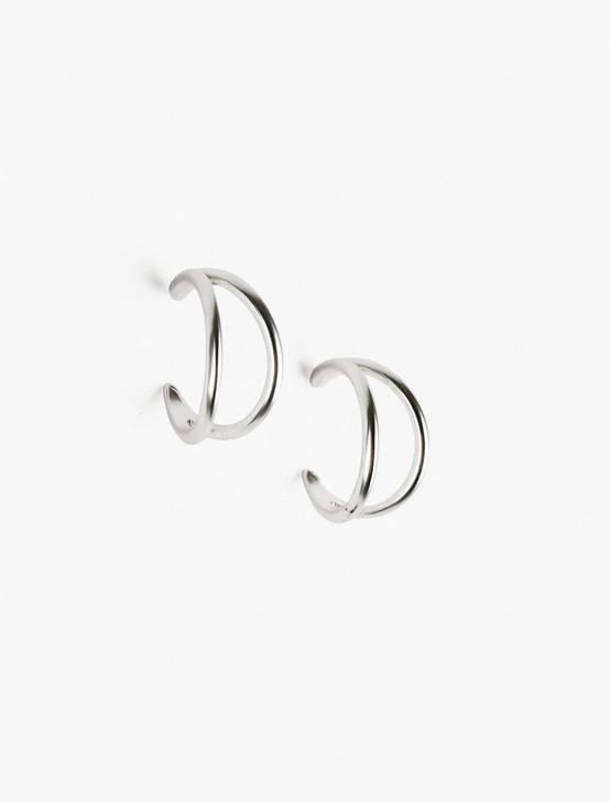 DOUBLE SPLIT HOOP EARRINGS, SILVER, productTileDesktop