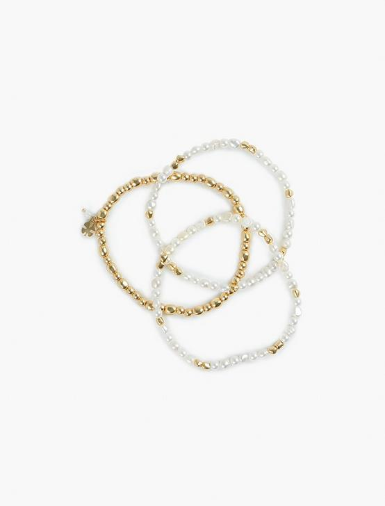 BEADED BRACELET SET, GOLD, productTileDesktop