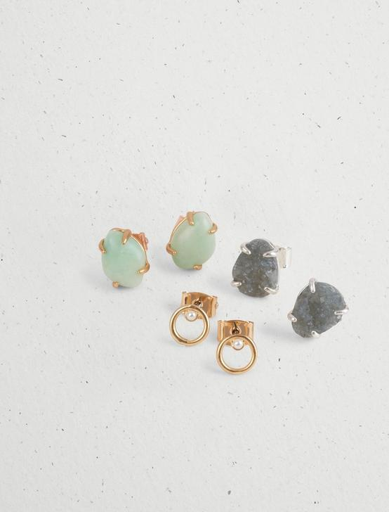 SET STONE EARRING STUD SET, TWO TONE, productTileDesktop