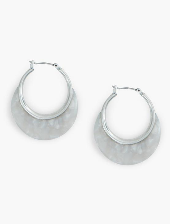 White Acetate Small Hoops, SILVER, productTileDesktop